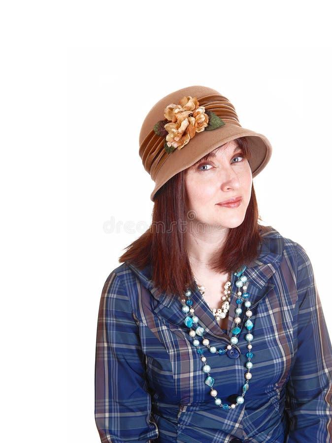 Madame avec le chapeau. image libre de droits