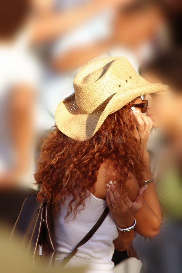 Madame Avec Le Chapeau Images stock