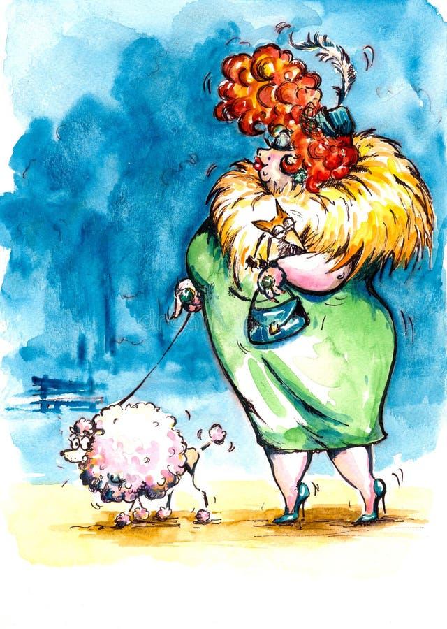 Madame avec le crabot. illustration de vecteur