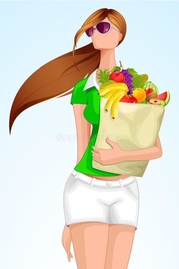 Madame avec le sac d'épicerie illustration stock