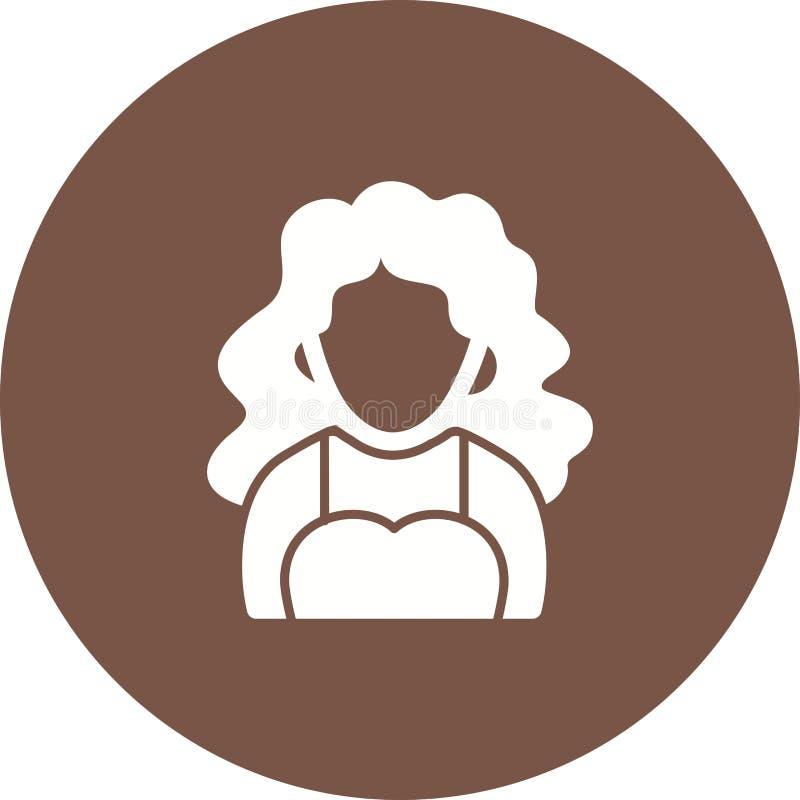Madame avec les cheveux onduleux illustration stock