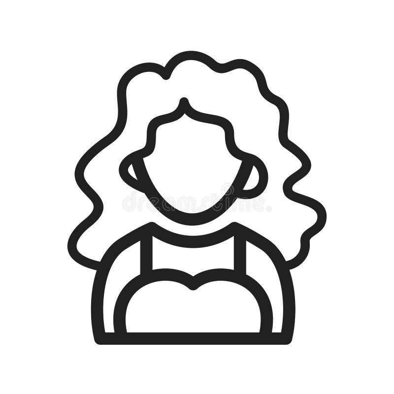 Madame avec les cheveux onduleux illustration de vecteur