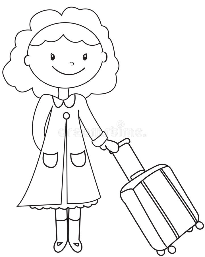 Madame avec une page de coloration de bagage illustration libre de droits