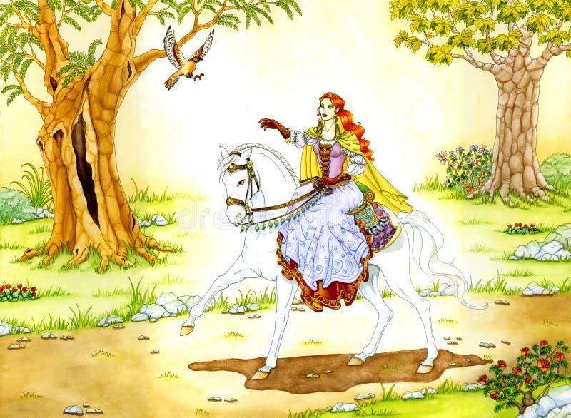 Madame d'Elven sur le cheval blanc illustration de vecteur