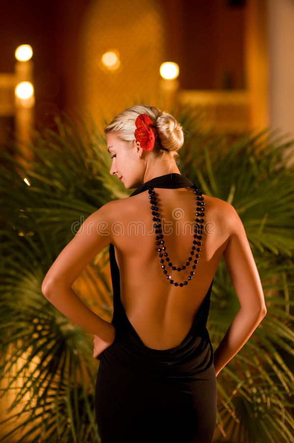 Madame dans la robe de soirée noire image stock