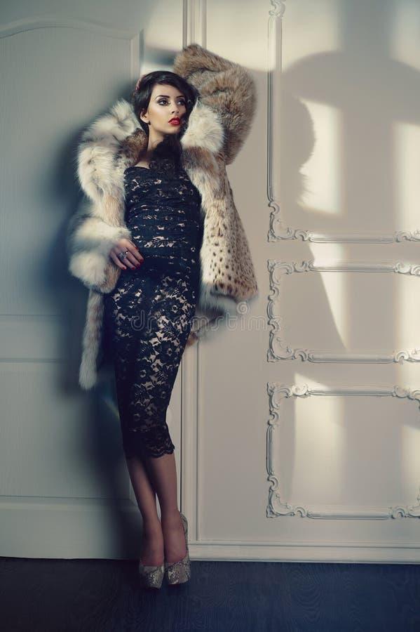Madame dans le manteau de fourrure luxueux image libre de droits