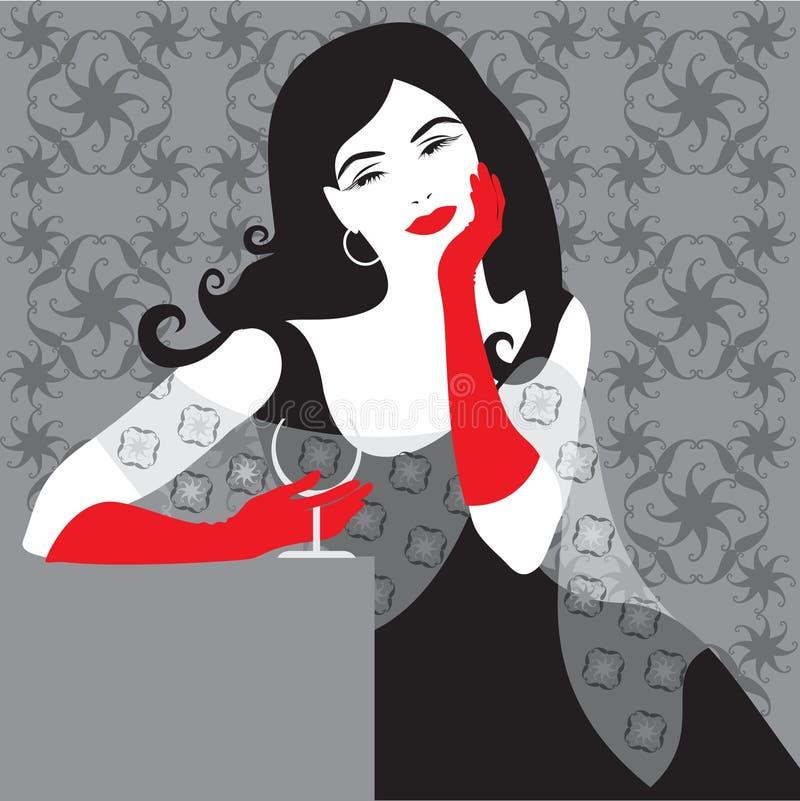 Madame dans le noir illustration de vecteur