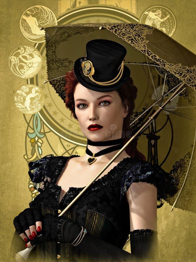 Madame dans le noir, 3d CG. illustration stock