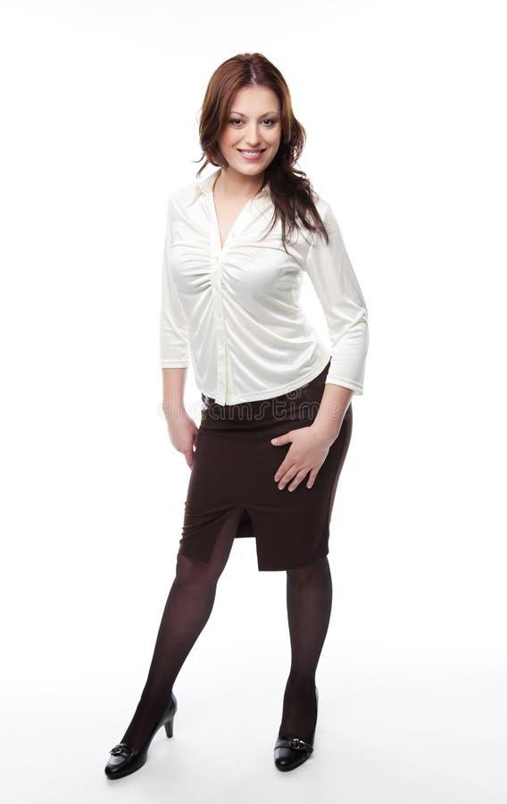 Madame dans le procès d'affaires, d'isolement sur le blanc photo stock