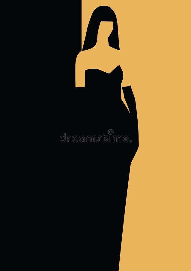 Madame dans une robe de soirée illustration de vecteur