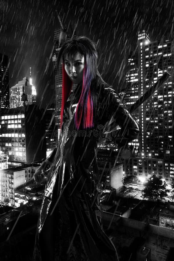 Madame In de guerrier la pluie photo stock