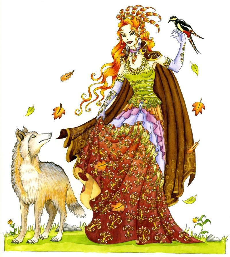 Madame des loups illustration de vecteur