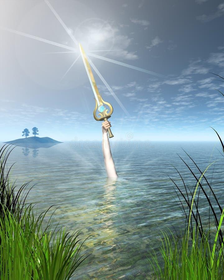 Madame du lac retenant l'épée Excalibur illustration libre de droits