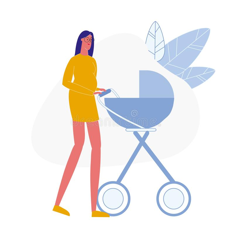 Madame enceinte avec l'illustration plate de vecteur de landau illustration de vecteur