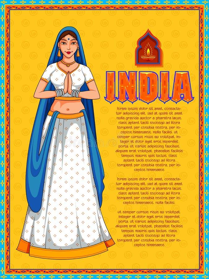 Madame faisant l'accueil d'apparence de geste de namaste sur le fond d'Inde illustration de vecteur