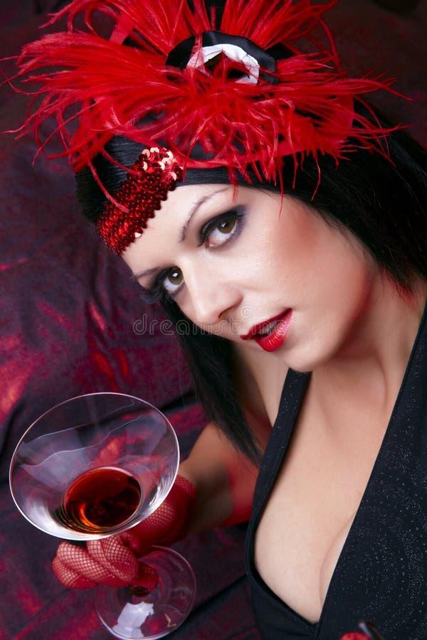 Madame In Flapper Costume Flirting de cabaret photo libre de droits