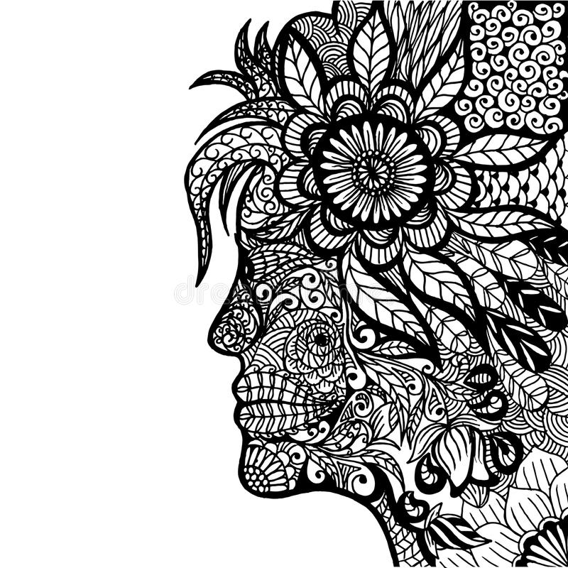 Madame Flower Zentangle image stock
