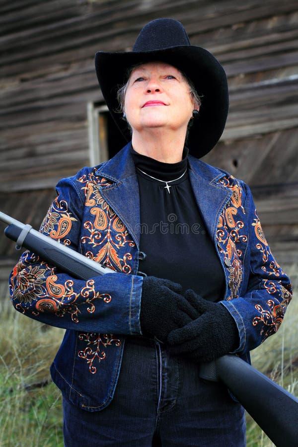 Madame Gunman de plan rapproché images stock