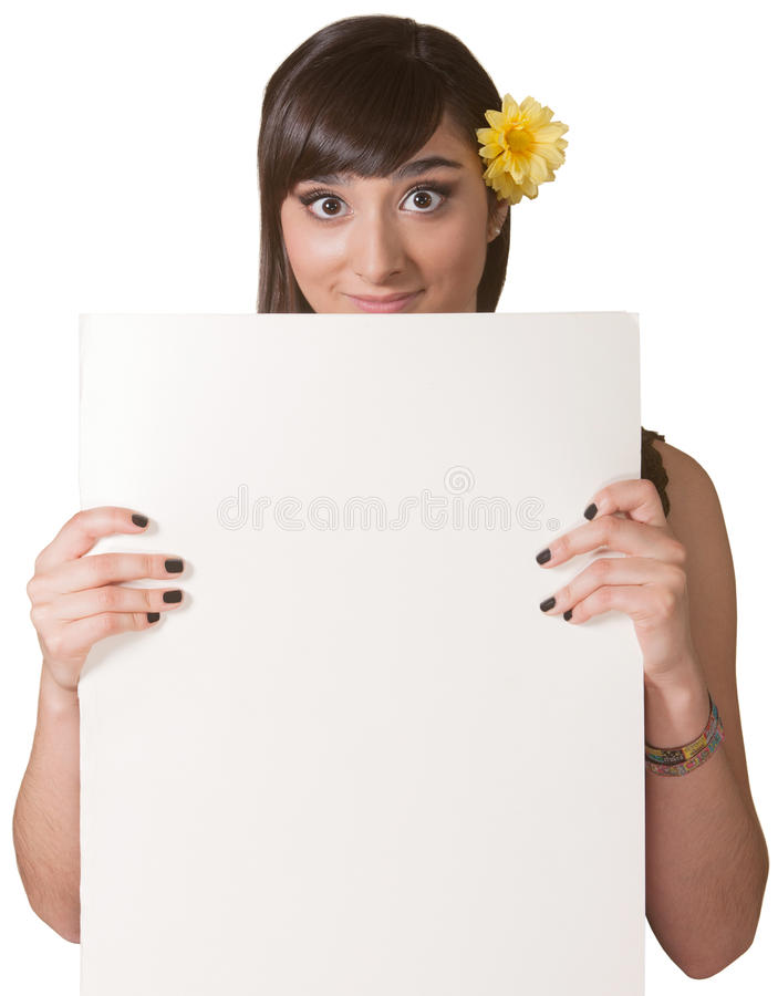 Madame Holding Blank Sign photographie stock