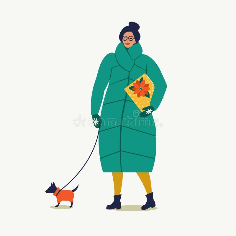 Madame marchant avec le chien portent une boîte de Noël Joyeux Noël et bonne année illustration libre de droits