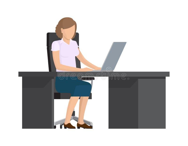 Madame mignonne Working avec la bannière colorée d'ordinateur illustration stock