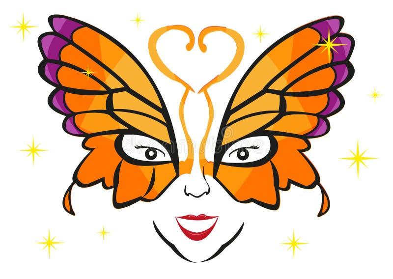 Madame portant un masque de fantaisie de papillon Clipart (images graphiques) Editable photo stock