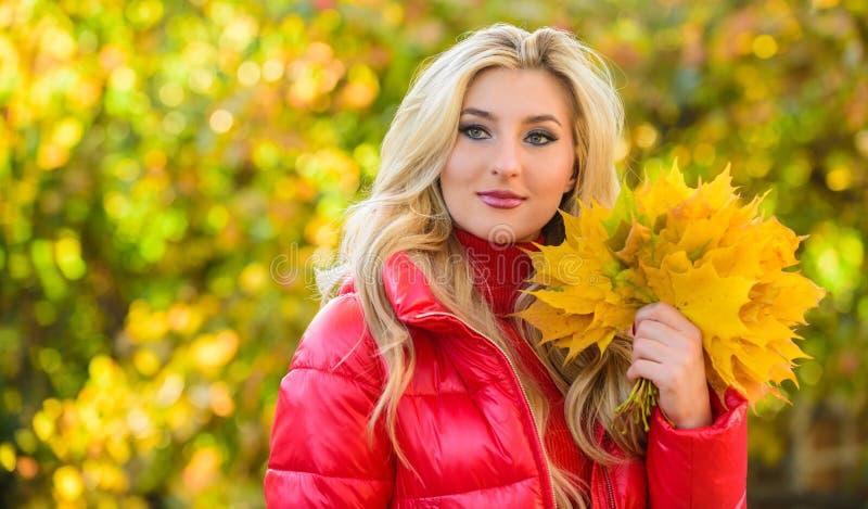 Madame posant avec le fond automnal de nature de feuilles Feuilles jaunes d'érable tombées par groupe rêveur blond de prise de vi photos stock