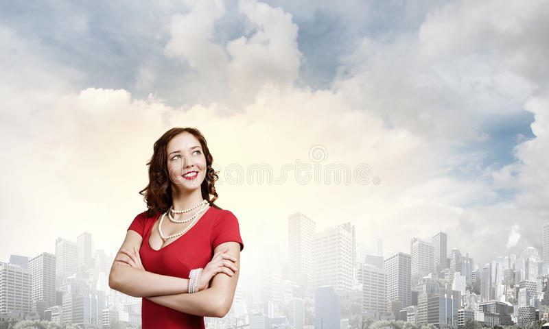 Madame In Red photo stock