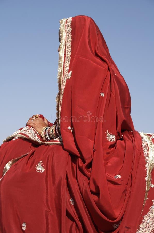 Madame In Red Sari images stock