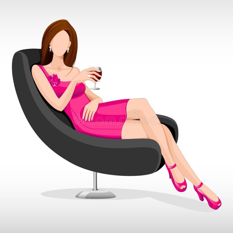 Madame s'asseyant dans le divan illustration stock