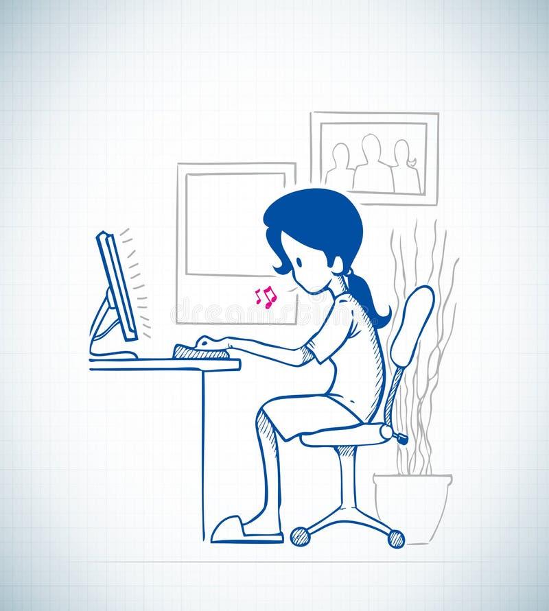 Madame s'asseyent devant l'ordinateur illustration de vecteur