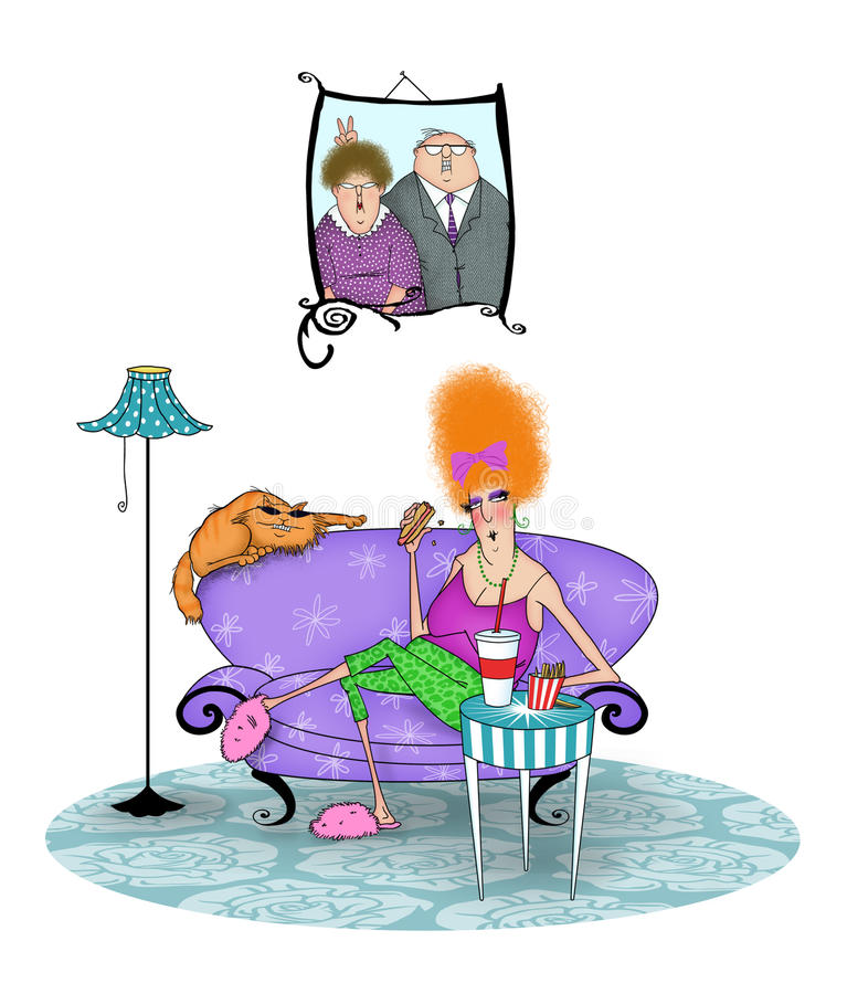 Madame sans valeur drôle Eating Junk Food illustration de vecteur