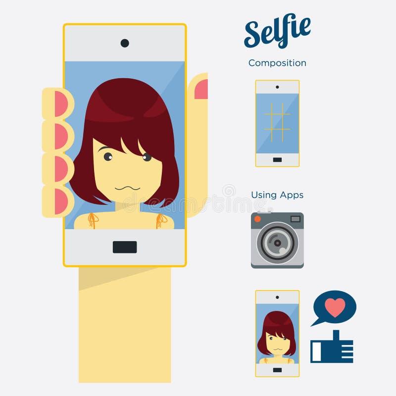Madame Selfie : Prise d'un autoportrait avec le téléphone intelligent, vecteur illustration libre de droits
