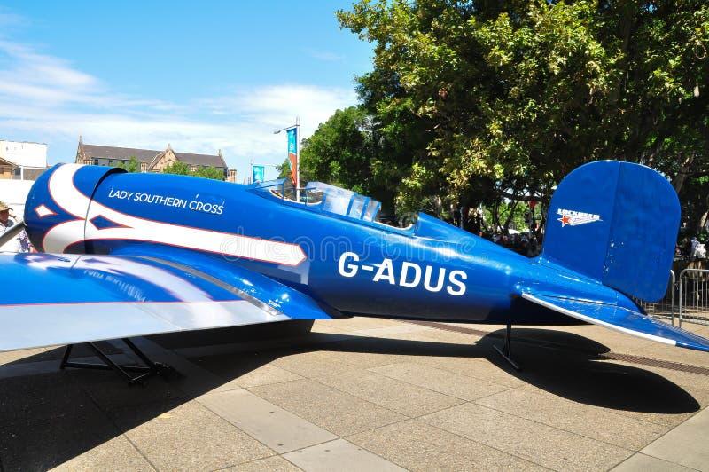 Madame Southern Cross était un monoplan d'ALTAIR de Lockheed possédé par l'aviateur pionnier australien Sir Charles Kingsford Smi images libres de droits