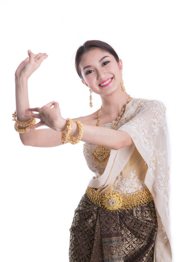 Madame thaïlandaise dans le vêtement original de la Thaïlande de vintage photo stock