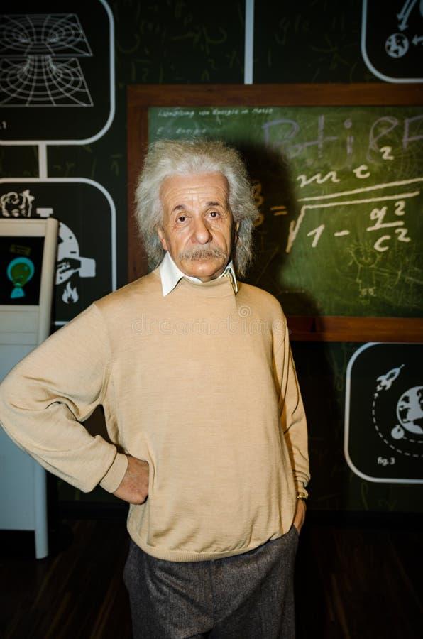 Madamtussauds, vaxmuseum Turist- dragning Vaxdiagram av Albert Einstein royaltyfri bild