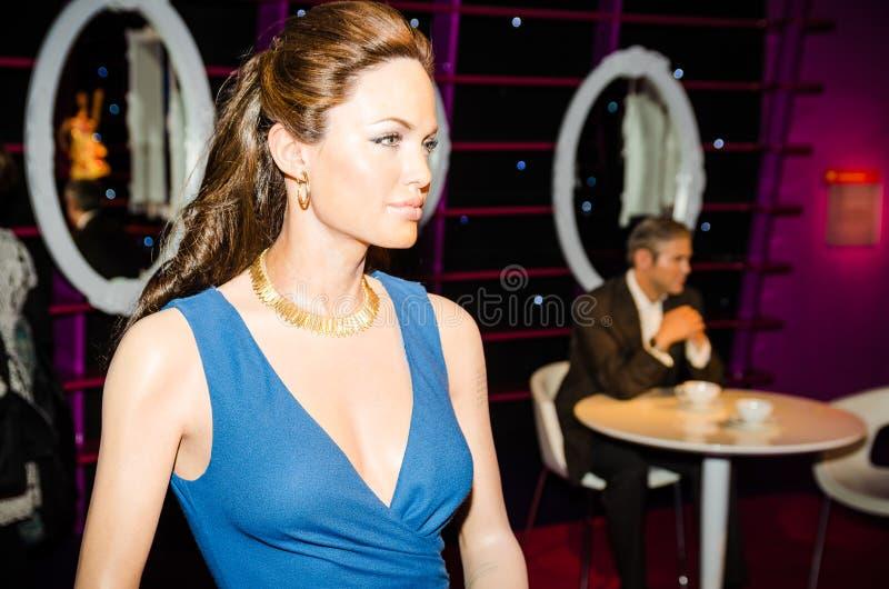 Madamtussauds, vaxmuseum Turist- dragning Vaxdiagram av Angelina Jolie royaltyfri foto