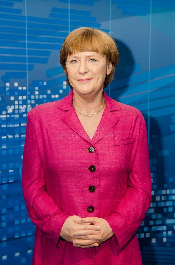 Madamtussauds, vaxmuseum Vaxdiagram av Angela Merkel royaltyfri foto