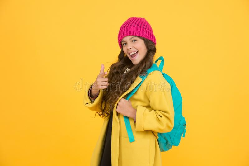 Madcap concept. Teen age. Girl adorable stylish modern teenager. Teen spirit. Rebellious teen. Street style. Rebel teen stock photo