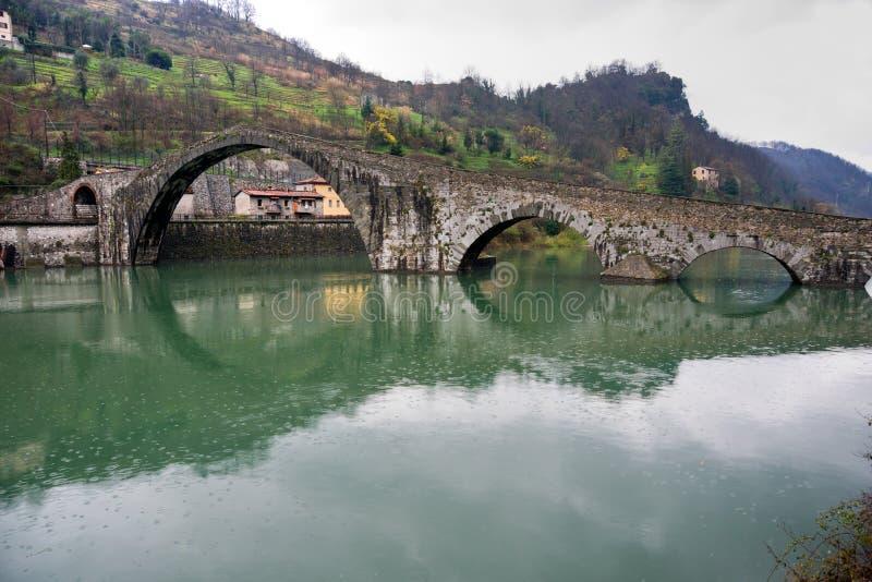 Maddalena's bridge, Borgo a Mozzano, Lucca, Italy. stock photo