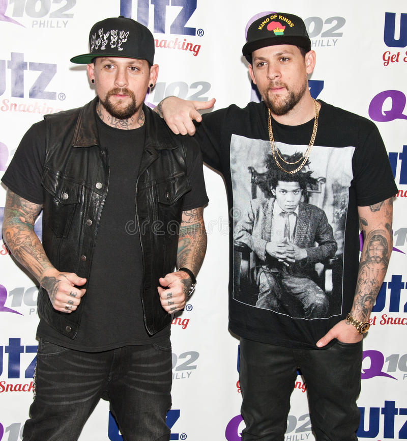 The Madden Brothers Perform at Q102 in Bala Cynwyd, PA, USA. Bala Cynwyd, PA, USA. 21st August, 2014. (L to R) Benji Madden and Joel Madden of American Pop Rock stock images