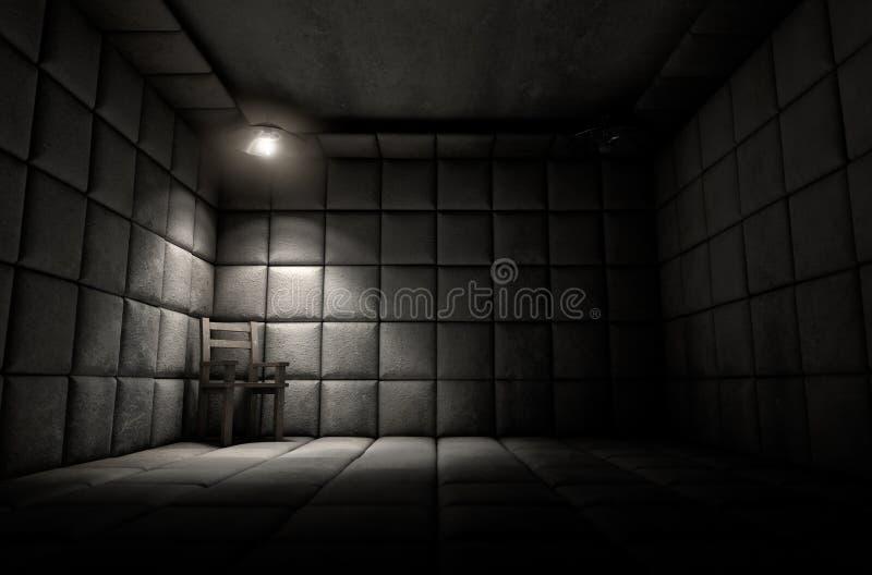 Maddrasserade cellen och tömmer stol arkivbild