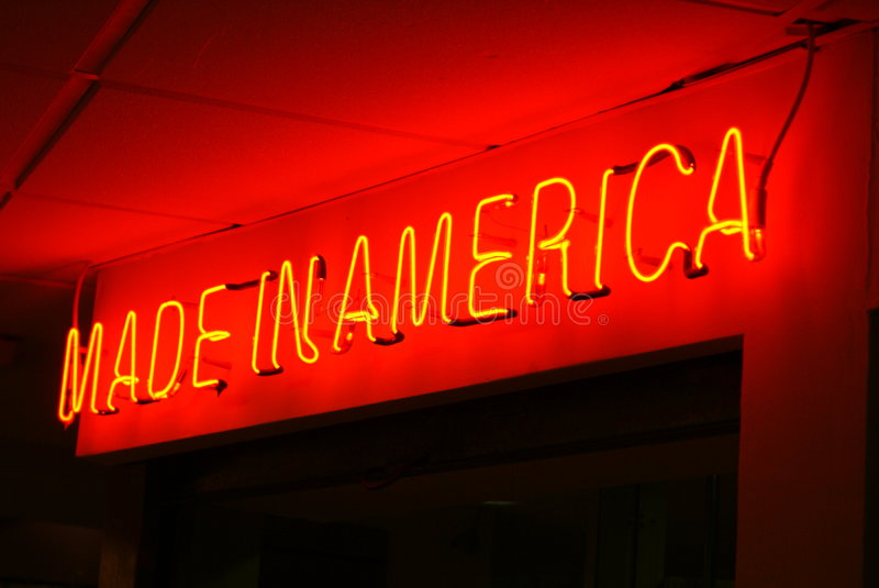 Made in america. Red neon sign at night made in america stock images