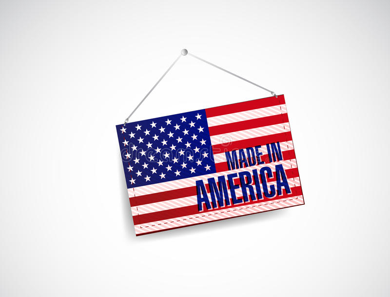 Made in america fabric textured banner hanging royalty free illustration