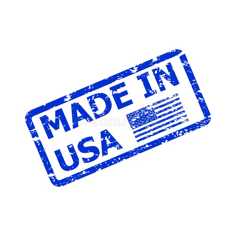 Made in america, product from usa, rubber stamp sketch royalty free illustration