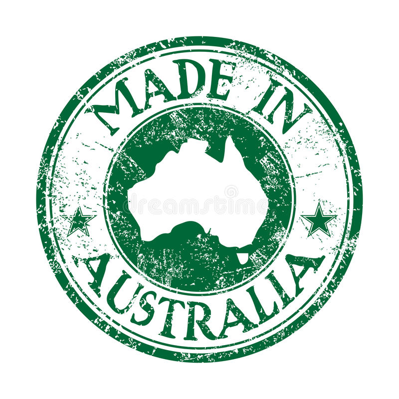 Made in Australia. Green grunge rubber stamp with the text made in Australia written inside the stamp stock illustration