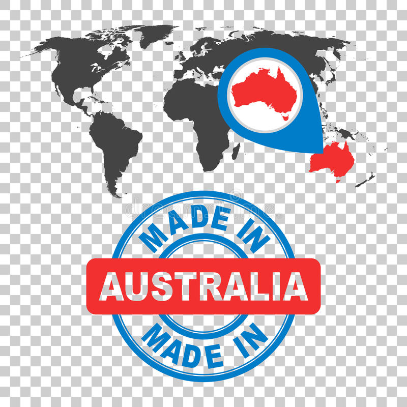 Made in australia stamp world map with red country vector embl download made in australia stamp world map with red country vector embl stock vector gumiabroncs Image collections