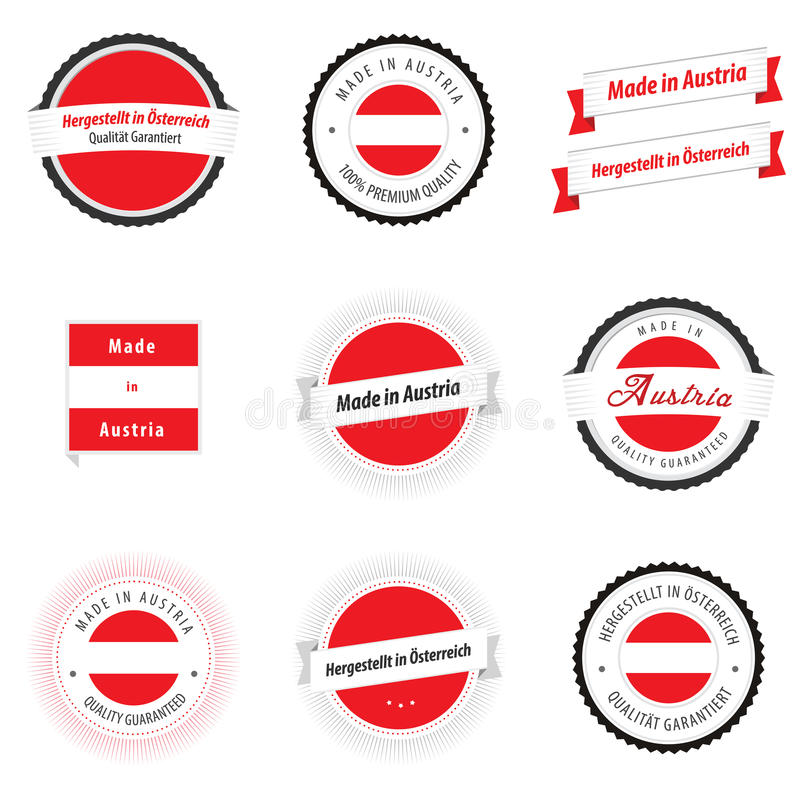 Made in Austria labels and badges