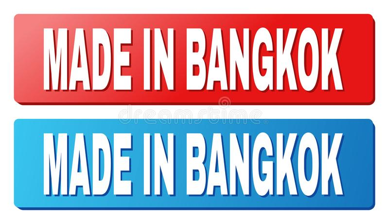 MADE IN BANGKOK Caption on Blue and Red Rectangle Buttons. MADE IN BANGKOK text on rounded rectangle buttons. Designed with white caption with shadow and blue stock illustration