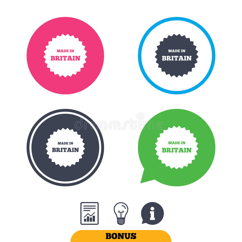 Made in Britain icon. Export production symbol. Product created in UK sign. Report document, information sign and light bulb icons. Vector vector illustration